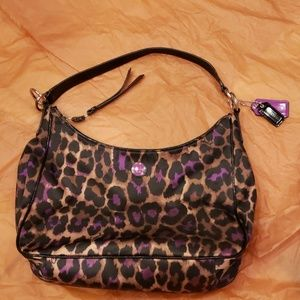 Coach hobo purse in purple leopard ocelot